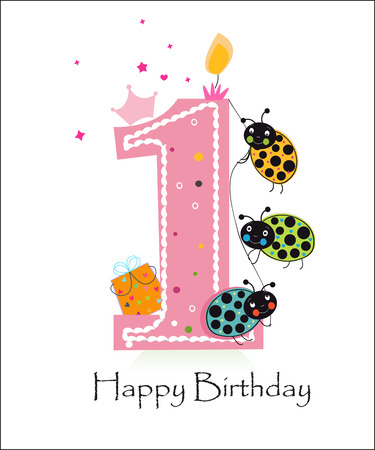 ladybird: Happy first birthday baby girl with funny ladybird greeting card vector background
