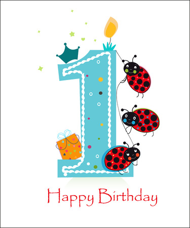 first birthday: Happy first birthday baby boy with funny ladybird greeting card vector background