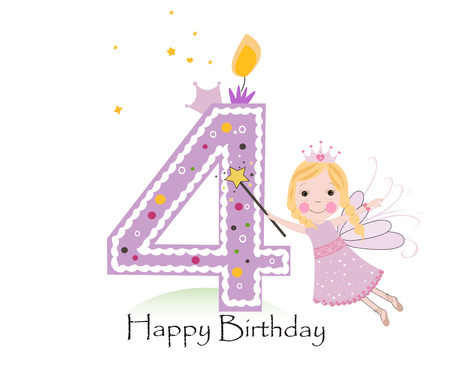 fourth birthday: Happy fourth birthday candle. Baby girl greeting card with fairy tale vector background