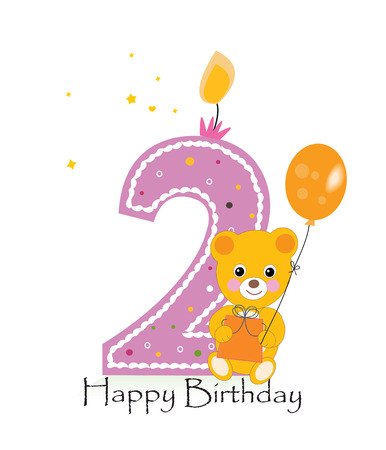 second birthday: Happy second birthday candle. Baby birthday greeting card with teddy bear vector background Illustration