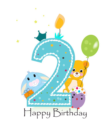 Happy second birthday candle. Baby boy greeting card with bunny, chick and teddy bear vector