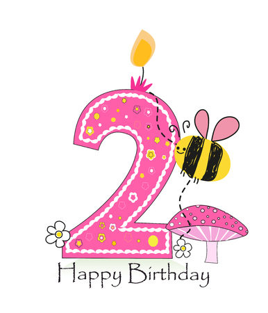 second birthday: Happy second birthday candle. Baby girl greeting card with bee and daisy vector background Illustration