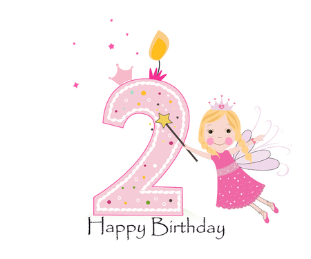 Happy second birthday candle. Baby girl greeting card with fairy tale vector background