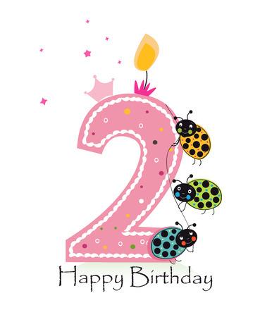 segunda vela feliz cumpleaños. tarjeta de felicitación del bebé con el fondo del vector de mariquita