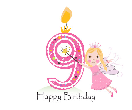 ninth birthday: Happy ninth birthday candle. Baby girl greeting card with fairy tale vector background