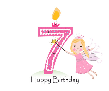 seventh: Happy seventh birthday candle. Baby girl greeting card with fairy tale vector background