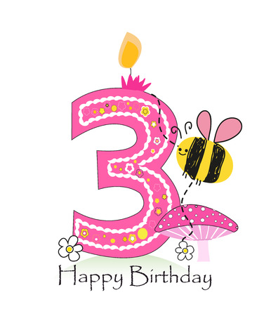 third birthday: Happy third birthday candle. Baby girl greeting card with bee and daisy vector background