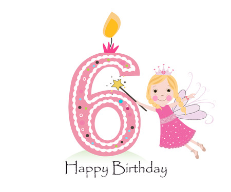 sixth birthday: Happy sixth birthday candle. Baby girl greeting card with fairy tale vector background