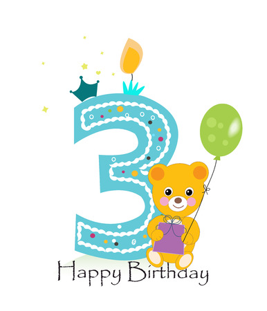 third birthday: Happy third birthday candle. Baby birthday greeting card with teddy bear vector background