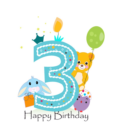 Happy third birthday candle. Baby boy greeting card with bunny, chick and teddy bear vector Illustration