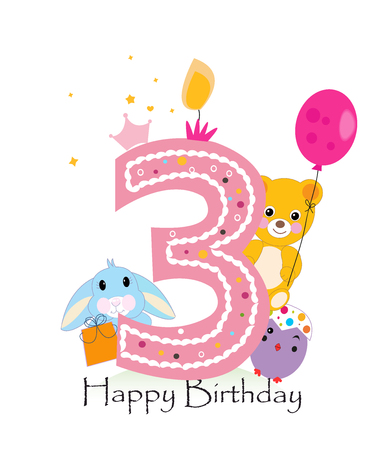 teddy bear vector: Happy third birthday candle. Baby boy greeting card with bunny, chick and teddy bear vector Illustration