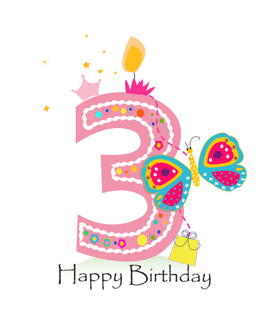 Happy third birthday candle. Baby girl greeting card with butterfly vector background