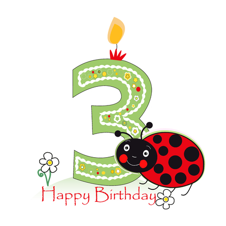 third birthday: Happy second birthday candle. Baby greeting card with daisy and ladybird vector Illustration