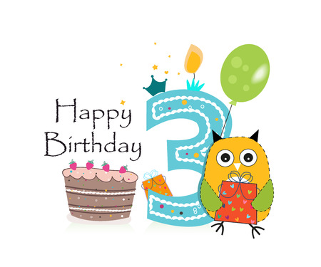 third birthday: Third birthday greeting card. Cute owl, balloon and birthday cake vector background Illustration