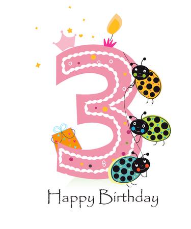 Happy third birthday greeting card vector baby girl with ladybird Иллюстрация