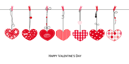 rejection: Happy Mothers day greeting card. Hanging cute valentine hearts vector background