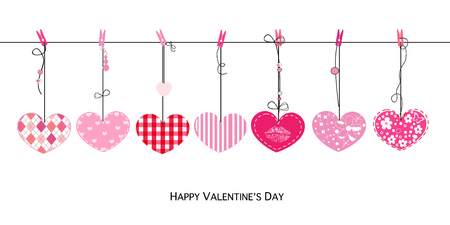 Happy Valentines Day Love Valentines card with hanging hearts vector
