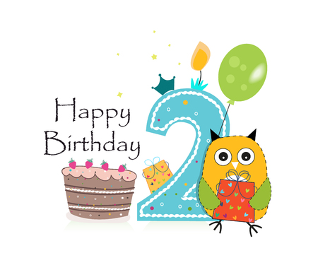 second birthday: Second birthday greeting card. Cute owl, balloon and birthday cake vector background