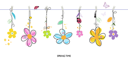 spring: Spring time background with hanging colorful daisy floral border vector