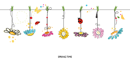 spring time: Spring time background with hanging colorful daisy floral border vector