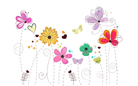 spring: Spring time doodle flowers vector background