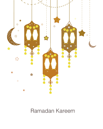 Ramadan Kareem with colorful Lamps, Crescents and Stars. Traditional lantern vector background of Ramadan