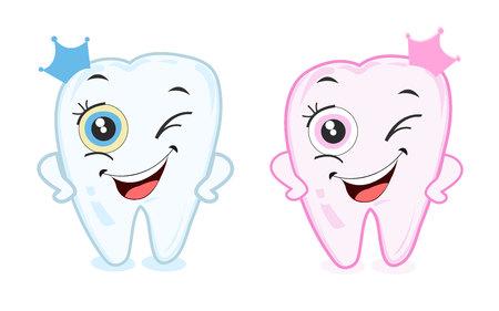 En primer diente de leche para niños y niñas. Diente vector del partido Foto de archivo - 60102259