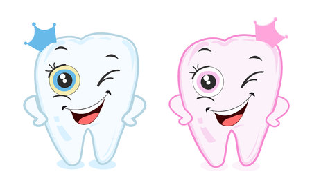 First baby tooth for boys and girls. Tooth party vector