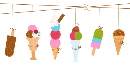 Cartoon colorful ice cream desserts summer vector illustration