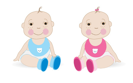 twin: Cute Baby girl Baby boy twin baby vector Illustration
