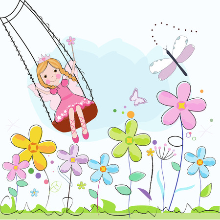 Flower Fairy with colorful flowers vector illustration