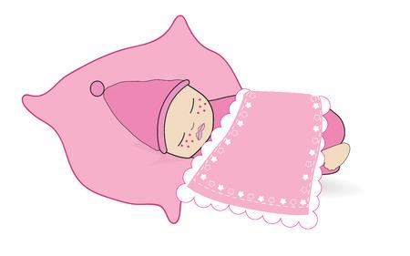 lying in bed: Newborn baby girl sleeping baby vector background