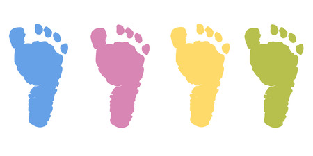 baby foot: Baby foot prints in pastel color vector background