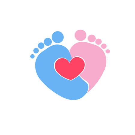 Baby footprints twin baby girl and boy icon vector illustration
