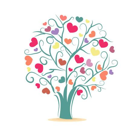 Árbol de amor Árbol con corazones de colores ilustración vectorial