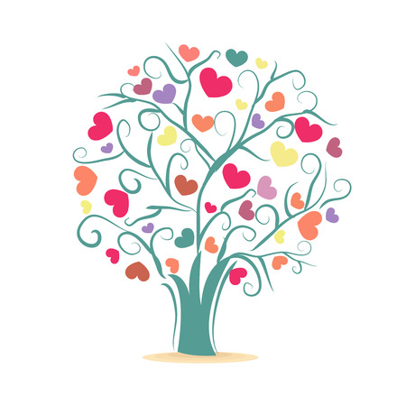 Love tree. Tree with colorful hearts vector illustration Illustration