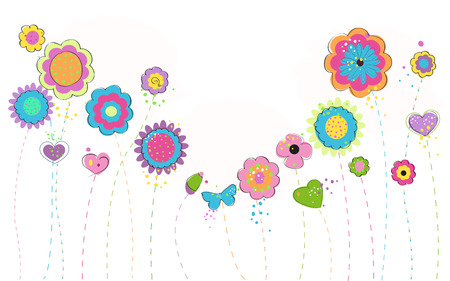 spring time: Spring time flowers. Abstract doodle blossom vector illustration