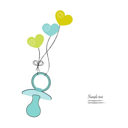 Baby boy greeting card illustration green soother and hearts