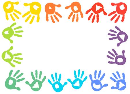 handprint: Colorful kids handprint frame vector background
