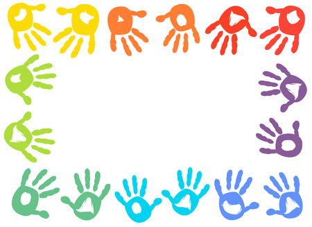 Colorful kids handprint frame vector background