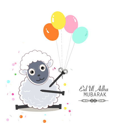 Leuke schapen vector illustratie. Kleurrijke ballon. Islamitische Offerfeest, Eid-al-Adha viering wenskaart