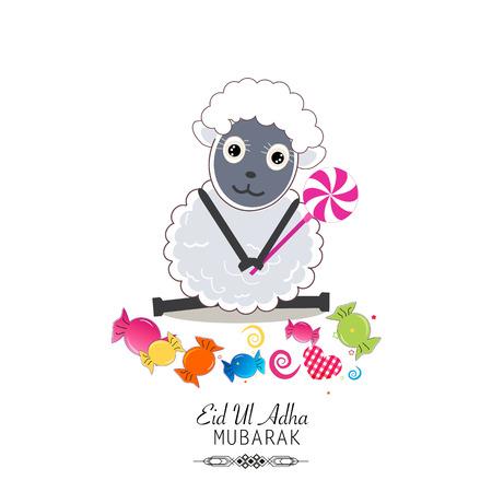 Cute sheep vector illustration. Colorful balloon. Islamic Festival of Sacrifice, Eid-Al-Adha celebration greeting card