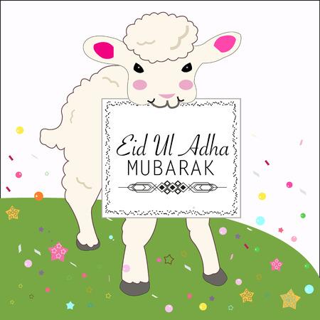 sacrificio: Ejemplo lindo del vector de ovejas. Globo colorido. Festival isl�mica del Sacrificio, tarjeta de felicitaci�n de la celebraci�n de Eid-al-Adha Vectores