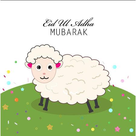 Cute sheep vector illustration. Islamic festival of sacrifice, eid ul adha celebration greeting card
