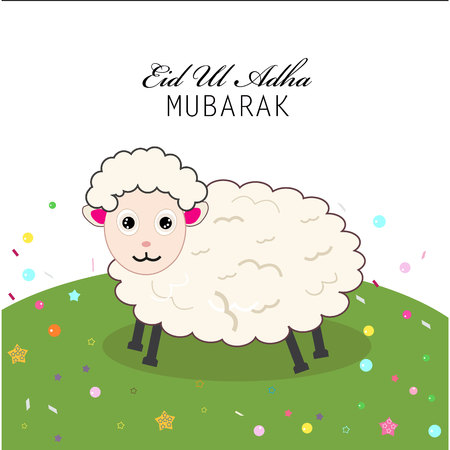 sacrificio: Ejemplo lindo del vector de ovejas. fiesta isl�mica del sacrificio, Eid ul Adha tarjeta de saludo de celebraci�n Vectores