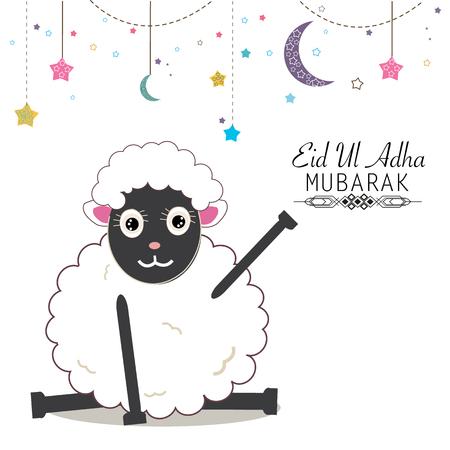 sacrificio: Ilustración divertida ovejas vector. fiesta islámica del sacrificio, Eid al Adha tarjeta de saludo de celebración Vectores