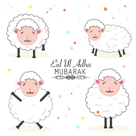 Funny sheeps vector illustration with colorful balloon. Islamic festival of sacrifice, eid ul adha celebration greeting card Illustration
