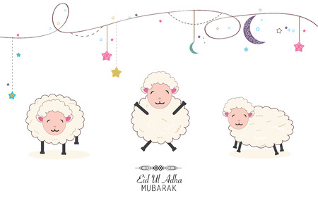 sheeps: Funny sheeps vector illustration. Islamic Festival of Sacrifice, Eid-Al-Adha celebration greeting card Illustration