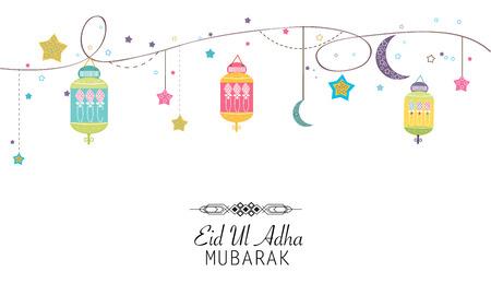 sacrifice: Festival islámica del sacrificio, Eid-al-Adha saludo de celebración cartel card.Eid Al Adha Mubarak. Hanging ilustración vectorial colorido linterna Vectores
