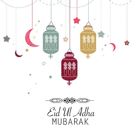 sacrifice: Festival islámica del sacrificio, Eid-al-Adha saludo de celebración cartel card.Eid Al Adha Mubarak. Colgando ilustración vectorial linterna Vectores